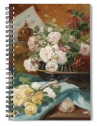Still Life With Roses In A Cup Ornamental Object And Score Spiral Notebook
