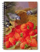 Still Life With Strawberries And Bluetits Spiral Notebook