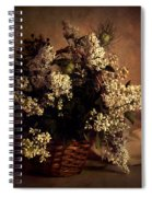 Still Life With White Flowers In The Basket Spiral Notebook