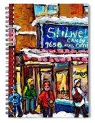Stilwell's Candy Shop Montreal Memories Lasalle Verdun Winter City Scene Hockey Art Carole Spandau   Spiral Notebook