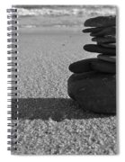 Stone Balance On The Beach In Monochrome Spiral Notebook