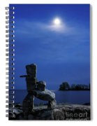 Stone Figure In Moonlight Spiral Notebook