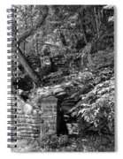 Stone Stairway Along The Wissahickon Creek In Black And White Spiral Notebook