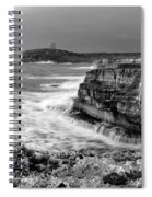 stormy sea - Slow waves in a rocky coast black and white photo by pedro cardona Spiral Notebook