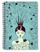 Strange Hairstyle And Flowery Swirls Spiral Notebook
