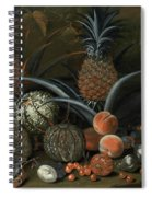 Strawberries In A Porcelain Bowl With Pineapples Melons Peaches And Figs Before A Tropical Landscape Spiral Notebook