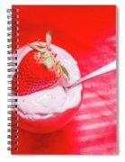 Strawberry Yogurt In Round Bowl With Spoon Spiral Notebook