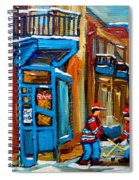 Street Hockey At Wilensky's Montreal Spiral Notebook