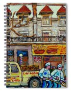 Street Hockey Pointe St Charles Winter  Hockey Scene Paul's Restaurant Quebec Art Carole Spandau     Spiral Notebook