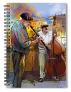 Street Musicians In Prague In The Czech Republic 01 Spiral Notebook