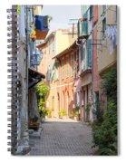 Street With Sunshine In Villefranche-sur-mer Spiral Notebook