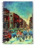 Streetscenes Of Montreal Hockey Paintings By Montreal Cityscene Specialist Carole Spandau Spiral Notebook