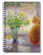 Striped Jug With Spring Flowers Spiral Notebook