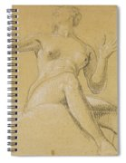 Study Of A Female Figure Seated On Clouds Spiral Notebook
