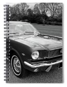 Stunning 1966 Mustang In Black And White Spiral Notebook