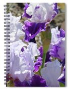 Summer Iris Garden Art Print White Purple Irises Flowers Baslee Troutman Spiral Notebook