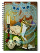 Summoning Old Friends - Ghost Cats Magic Spiral Notebook