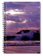 Sun Pokes Though Clouds By Stormy Sea Spiral Notebook