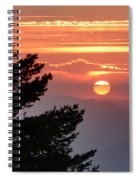 Sun Through The Clouds And Trees Sunset At The Mountains Spiral Notebook