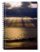 Sunbeams Radiating Through Clouds Before Sunset Spiral Notebook