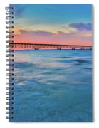 Sundown At Mackinac Bridge Spiral Notebook