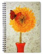 Sunflower And Red Butterfly Spiral Notebook