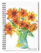 Sunflower Medley II Watercolor Painting By Kmcelwaine Spiral Notebook