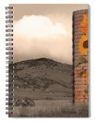 Sunflower Silo In Boulder County Colorado Sepia Color Print Spiral Notebook