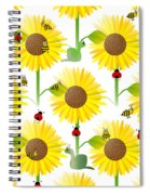 Sunflowers And Bees Spiral Notebook