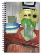 Sunflowers And Blue Bowls Spiral Notebook