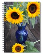 Sunflowers And Blue Vase - Still Life Spiral Notebook