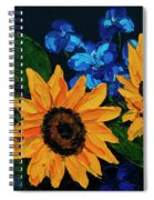 Sunflowers And Delphinium Spiral Notebook