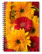 Sunflowers And Red Mums Spiral Notebook