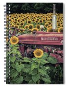 Sunflowers And Tractor Spiral Notebook