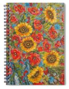 Sunflowers In Blue Pitcher. Spiral Notebook