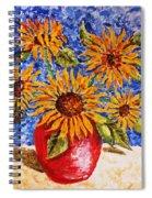 Sunflowers In Red Vase. Spiral Notebook