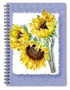 Sunflowers On Baby Blue Spiral Notebook