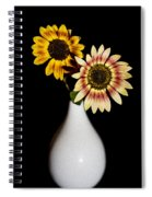 Sunflowers On Black Background And In White Vase Spiral Notebook