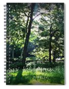 Sunlight Through Trees And Fence Spiral Notebook