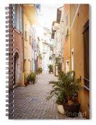 Sunny Street In Villefranche-sur-mer Spiral Notebook