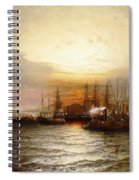Sunrise From Chapman Dock And Old Brooklyn Navy Yard, East River, New York Spiral Notebook