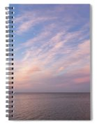 Sunrise Moonset - Feathery Clouds And Crescent Moon Over Water Spiral Notebook