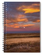 Sunrise On The Plains - Moon Over Prairie In Eastern Colorado Spiral Notebook