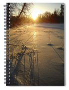 Sunrise Reflecting Off Mississippi River Ice Spiral Notebook