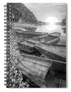 Sunrise Rowboats  In Black And White Spiral Notebook