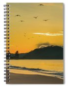 Sunrise Seascape With Mountain And Birds Spiral Notebook