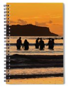 Sunrise Seascape With People Silhouettes Spiral Notebook