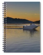 Sunrise Waterscape And Boat On The Bay Spiral Notebook