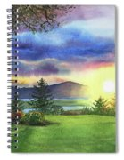 Sunset At Columbia River State Of Washington Spiral Notebook