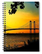 Sunset At The Delaware Memorial Bridge Spiral Notebook